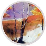 Round Beach Towel featuring the painting Autumn by Ed Heaton