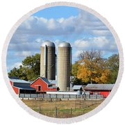 Autumn Elk Farm Round Beach Towel by Bonfire Photography