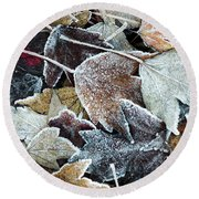 Round Beach Towel featuring the photograph Autumn Ends, Winter Begins 1 by Linda Lees