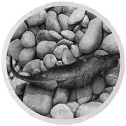 Autumn Epilogue On Black Round Beach Towel