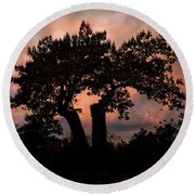 Round Beach Towel featuring the photograph Autumn Evening Sunset Silhouette by Chris Lord