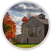 Autumn Fall Colors Turn Next To Grey Barn Round Beach Towel