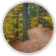 Autumn Fall Foliage In New England Round Beach Towel
