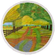 Round Beach Towel featuring the painting Autumn- Fallen Leaves by Magdalena Frohnsdorff