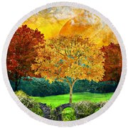 Autumn Fantasy Round Beach Towel