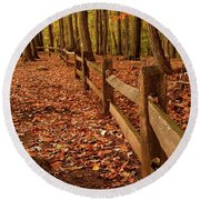 Round Beach Towel featuring the photograph Autumn Fence by Angie Tirado