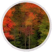 Autumn Fence Line Round Beach Towel