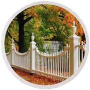 Autumn Fencing Round Beach Towel