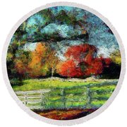 Autumn Field On The Farm Round Beach Towel