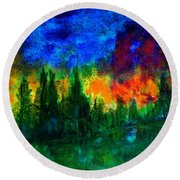 Autumn Fires Round Beach Towel by Claire Bull
