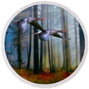 Autumn Flight Round Beach Towel by Diane Schuster