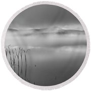 Round Beach Towel featuring the photograph Autumn Fog Black And White by Bill Wakeley