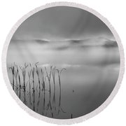 Round Beach Towel featuring the photograph Autumn Fog Black And White Square by Bill Wakeley