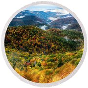 Autumn Foliage On Blue Ridge Parkway Near Maggie Valley North Ca Round Beach Towel