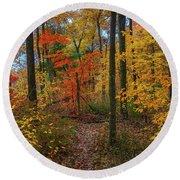 Autumn Forest Hike Round Beach Towel
