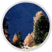 Autumn Forest In The Mountains Round Beach Towel