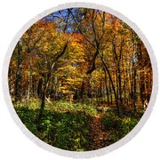 Autumn Forest Path At Johnson's Mound Round Beach Towel