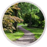 Autumn Forest Path Round Beach Towel by Scott Lyons