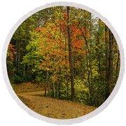 Autumn Forest Road. Round Beach Towel