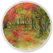Autumn Forest Watercolor Illustration Round Beach Towel