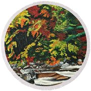 Autumn Frost Round Beach Towel
