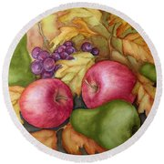 Autumn Fruit Still Life Round Beach Towel