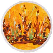 Round Beach Towel featuring the painting Autumn Garden by Holly Carmichael