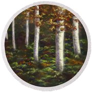 Autumn Ghosts Round Beach Towel by Amyla Silverflame