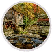 Autumn Glade Creek Grist Mill  Round Beach Towel