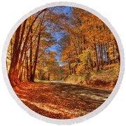 Autumn Glow Round Beach Towel by Dale R Carlson