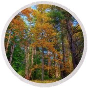 Round Beach Towel featuring the photograph Autumn Glow In The Woods by Rick Berk
