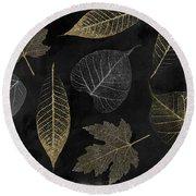 Autumn Gold Leaf Pattern Round Beach Towel