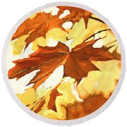 Autumn Greeting Round Beach Towel