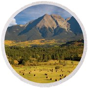 Autumn Hay In The Rockies Round Beach Towel