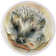 Autumn Hedgehog Round Beach Towel