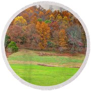 Autumn Hillside Round Beach Towel