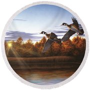 Autumn Home - Wood Ducks Round Beach Towel