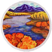 Round Beach Towel featuring the painting Autumn Hues by Rae Chichilnitsky