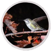 Round Beach Towel featuring the photograph Autumn Hummer by Joyce Dickens