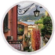 Autumn In Bellagio Round Beach Towel by Jennie Breeze