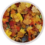Autumn In Canada Round Beach Towel by Reb Frost