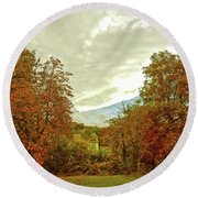 Round Beach Towel featuring the photograph Autumn In Chesham by Anne Kotan