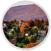 Autumn In Danville Vermont Round Beach Towel by Sherman Perry
