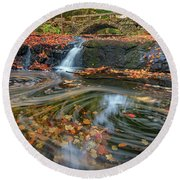 Round Beach Towel featuring the photograph Autumn In Hallowell by Rick Berk