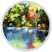 Round Beach Towel featuring the painting Autumn In Loon Country by Al Brown
