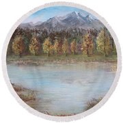 Autumn In Maule Round Beach Towel