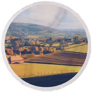 Round Beach Towel featuring the painting Autumn In Mechelen by Nop Briex