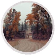 Autumn In Montana Round Beach Towel by Cathy Anderson