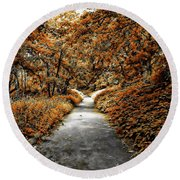 Autumn In Stamford Round Beach Towel