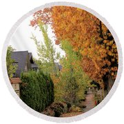 Autumn In The City Round Beach Towel